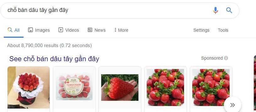 Tìm kiếm địa chỉ bán dâu tây gần đây trên google