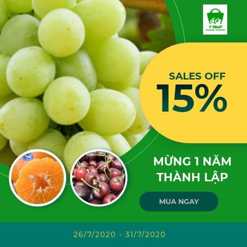Giảm đến 25% mừng 1 năm thành lập T Fruit
